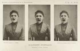 Three sepia photographs of a woman in what appears to be Victorian garb. Her mouth is open wide as if screaming.